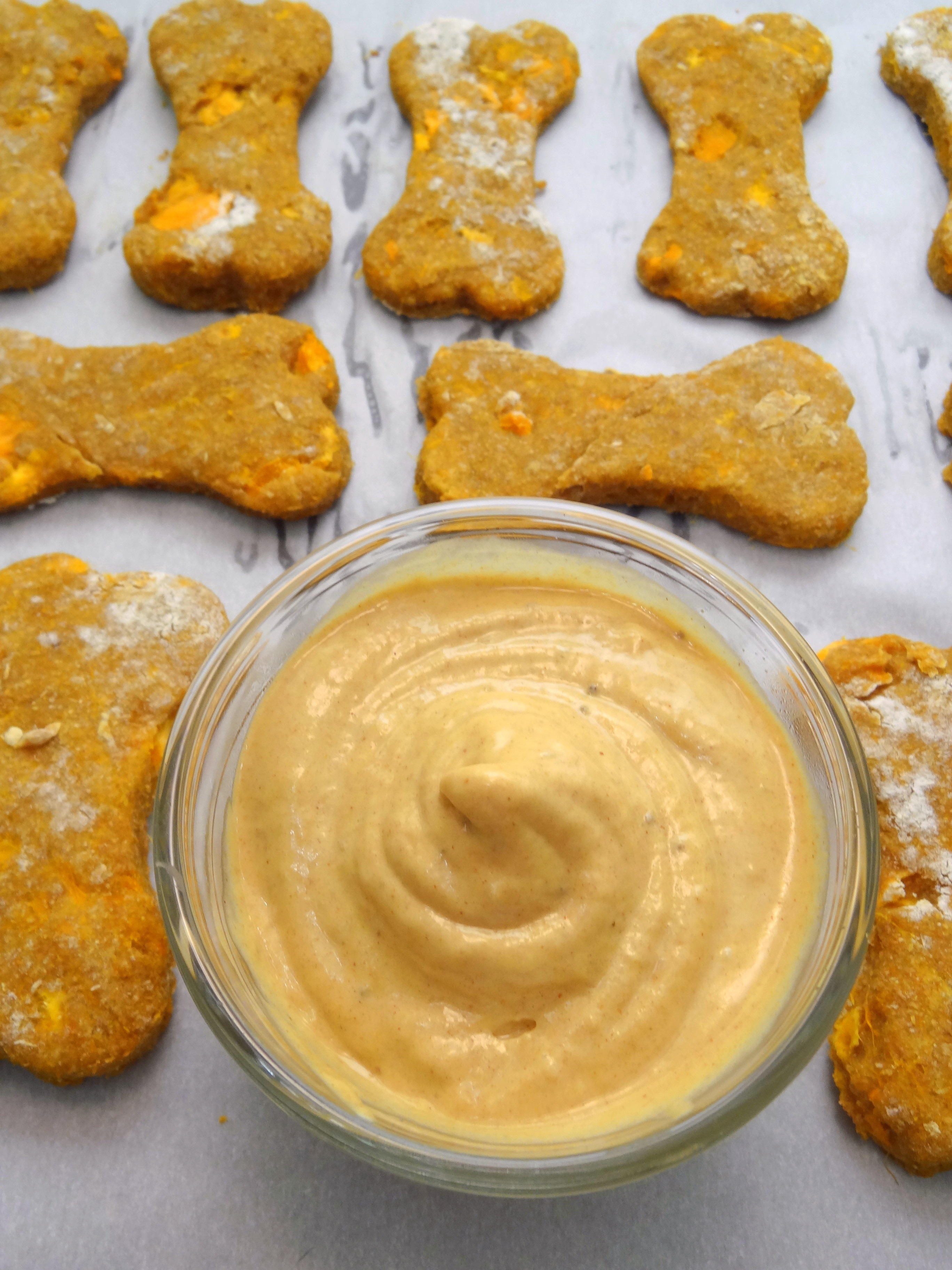 Sweet Potato Dog Biscuits With Peanut Butter Banana Icing