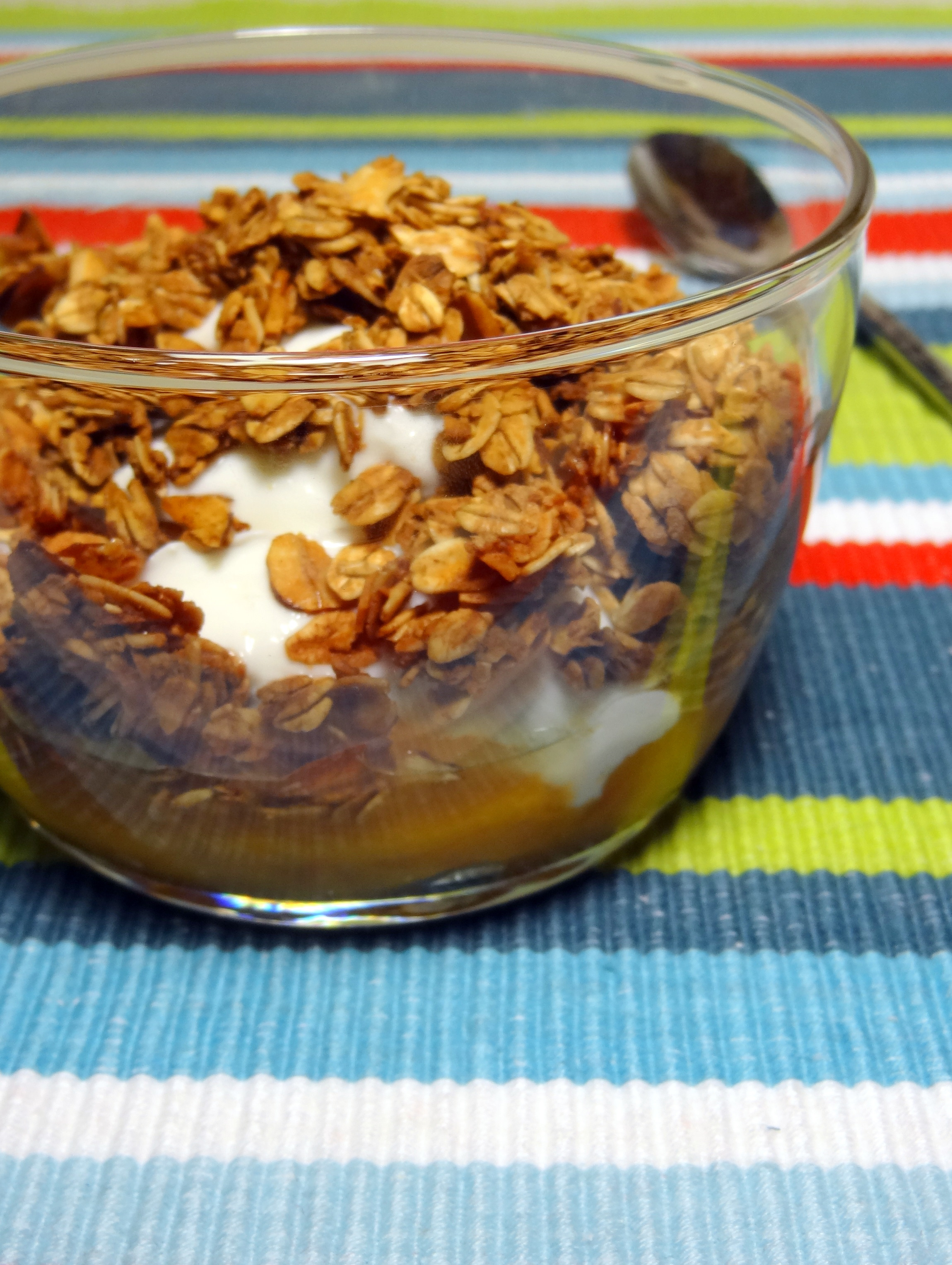 homemade granola and apricot compote