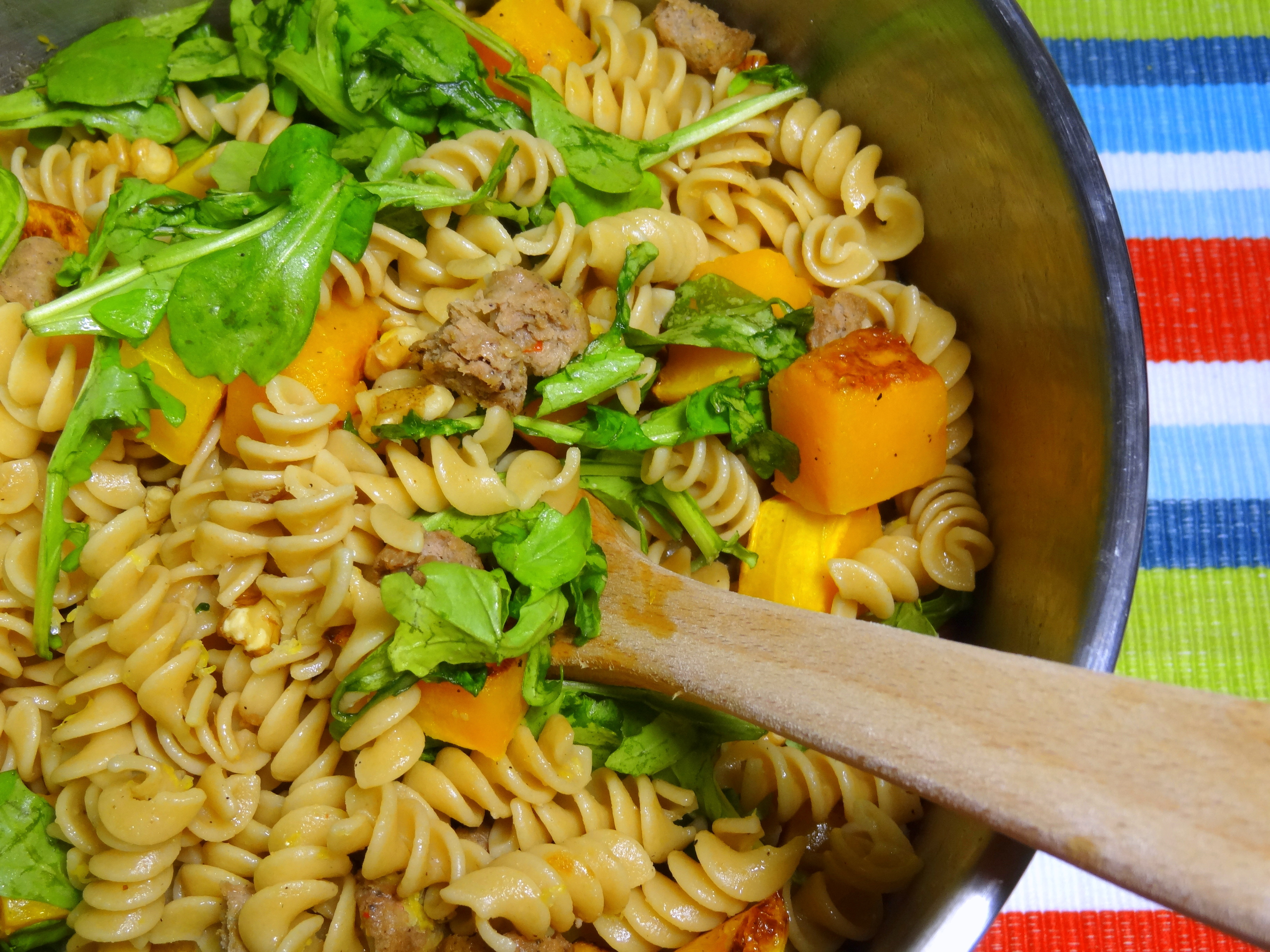 pasta with butternut squash, sausage, and arugula