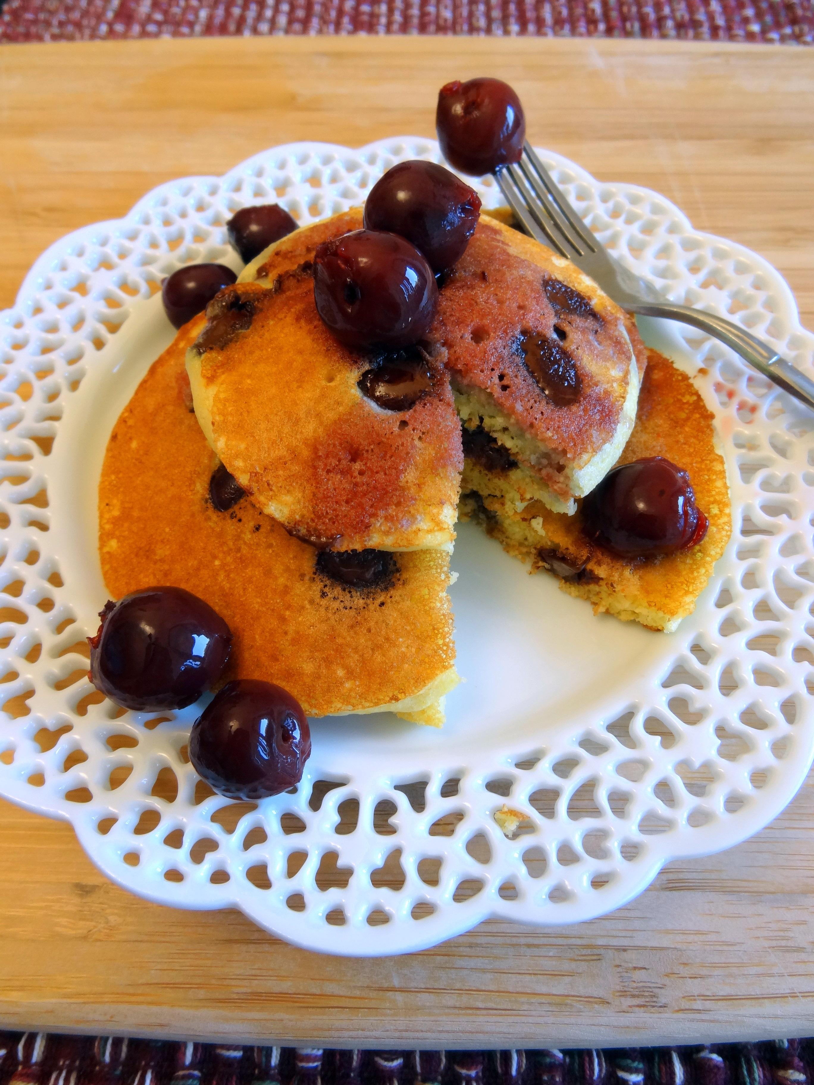 cornmeal chocolate chip pancakes with brandied cherries