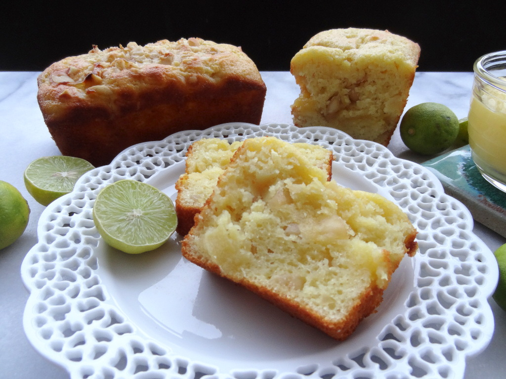 pineapple macadamia nut cake with key lime curd