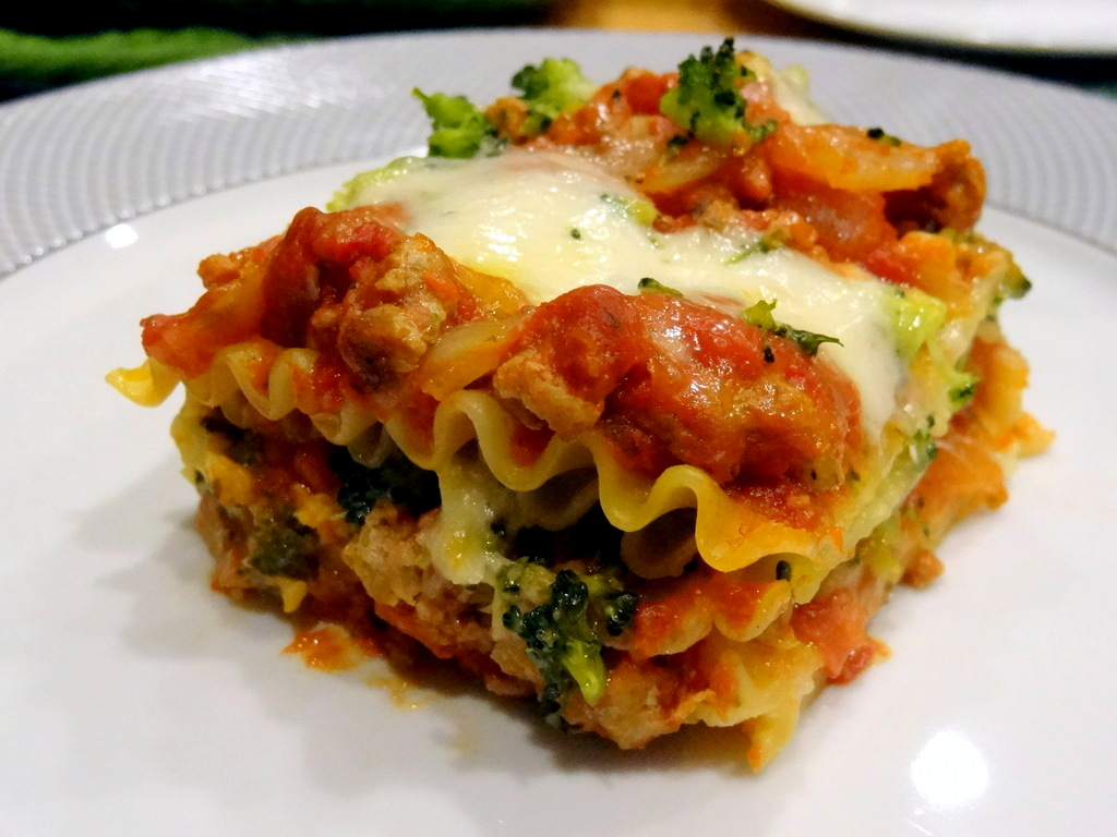 three-cheese broccoli turkey lasagna