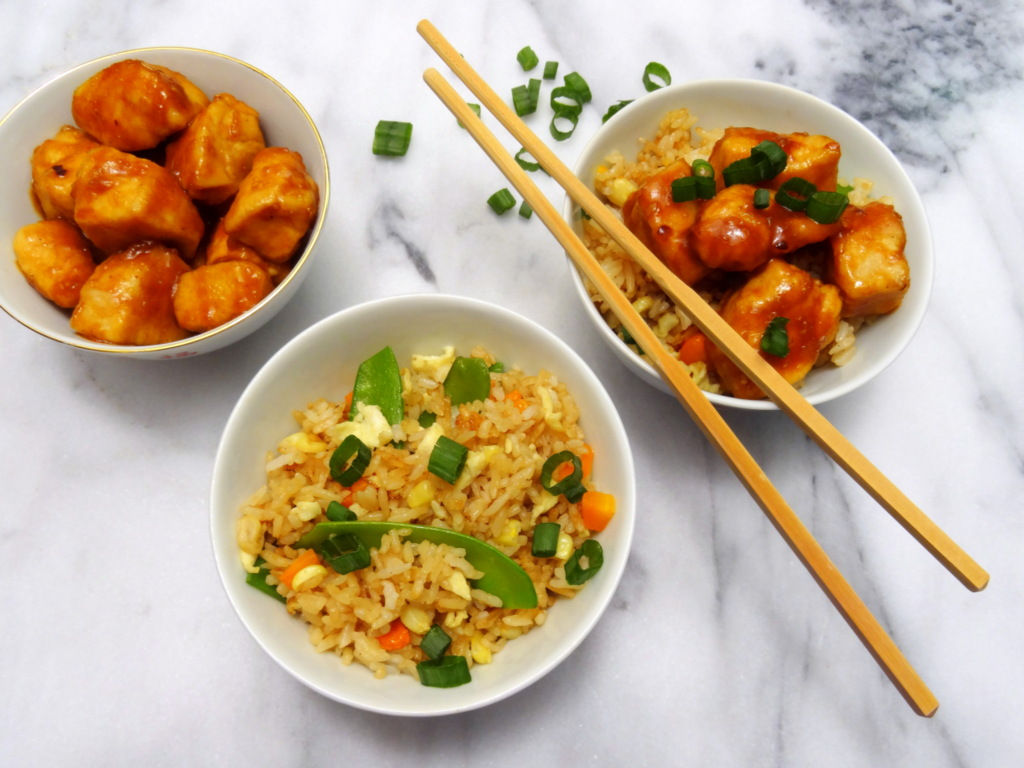 veggie fried rice and General Tso's chicken