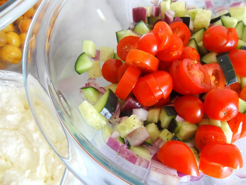 chickpea cucumber quinoa bowls