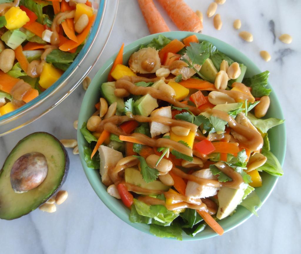 Mango, Avocado And Grilled Shrimp Salad With A Peanut Dressing Recipes ...