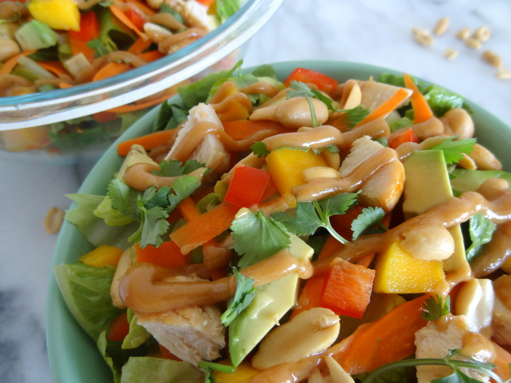 mango Thai chicken salad with peanut dressing