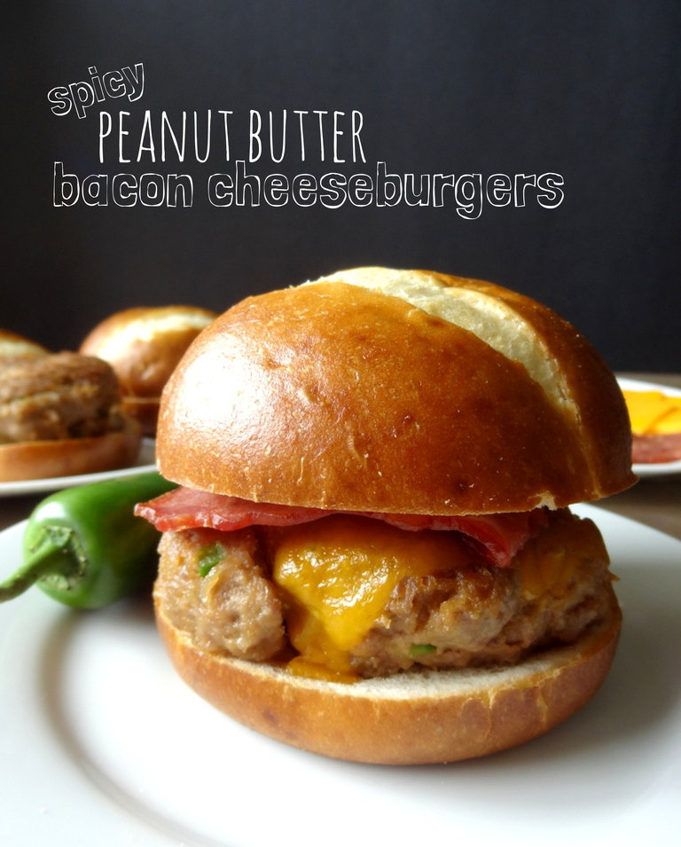 spicy peanut butter bacon cheeseburgers