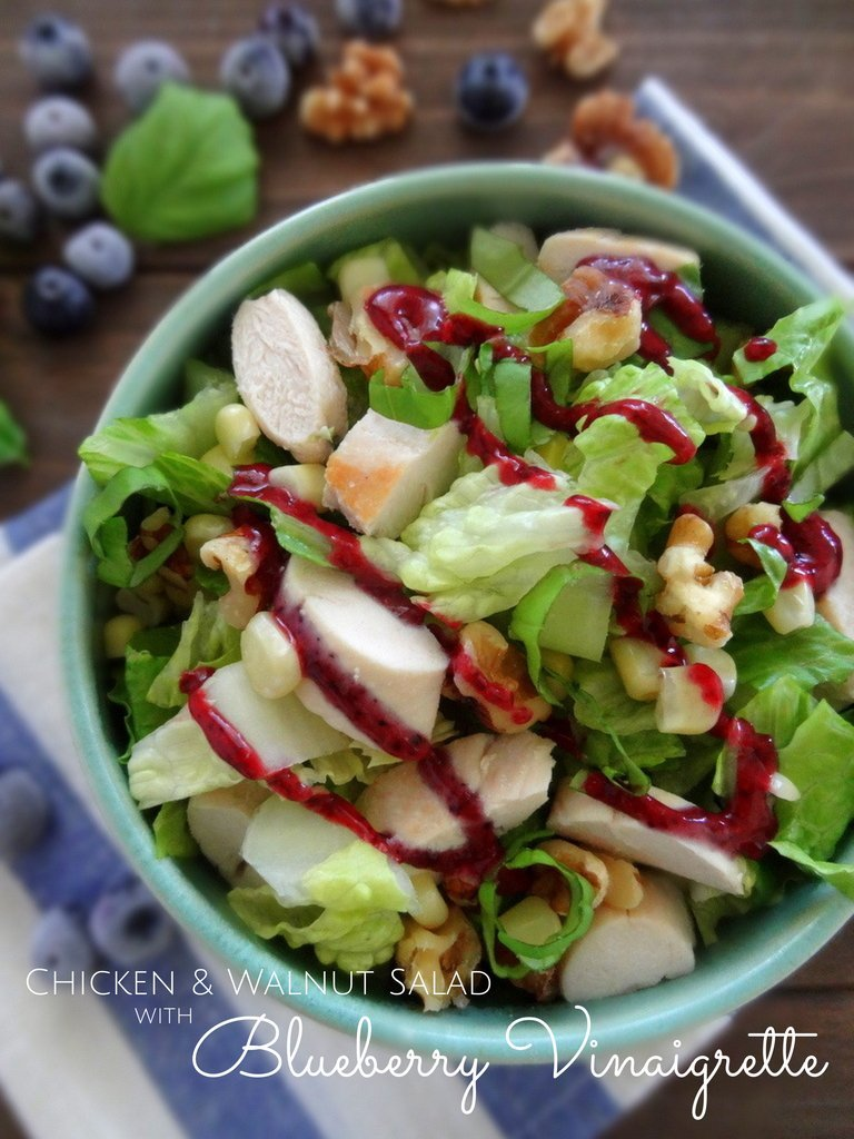 walnut chicken salad with blueberry vinaigrette