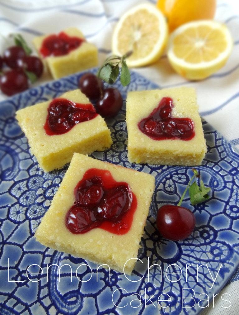 Lemon Cherry (or Blueberry) Cake Bars