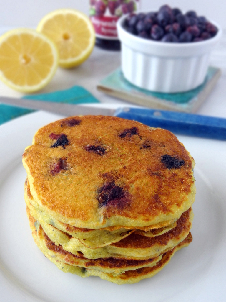 Lemon Blueberry Cornmeal Pancakes